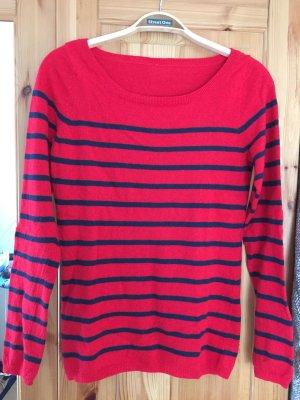 Rot/dunkelblau gestreifter Pullover von Esprit in Größe 38