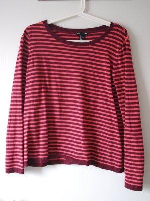 Rot-gestreifter kurzer Pullover Größe M