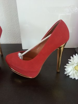 Rot Goldene Velour Wildleder Plateau Pumps Gr 38