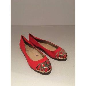 Rot- goldene Zara Ballerinas (Neu) Gr.39