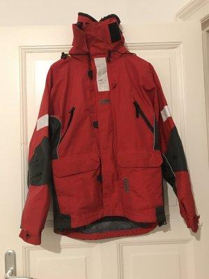 Rot-Graue Regenjacke