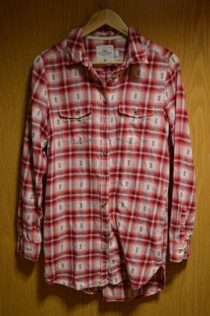 Rot karierte lange Hemd-Bluse
