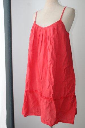 rot Kleid Träger GAP Gr. 40 M L 100% Leinen Sommerkleid Babydoll Leinenkleid