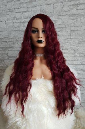 rot lockige Perücke Wig Cosplay Neu Haare dunkelrot lang