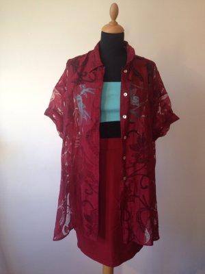 Blusa tipo kimono rojo oscuro