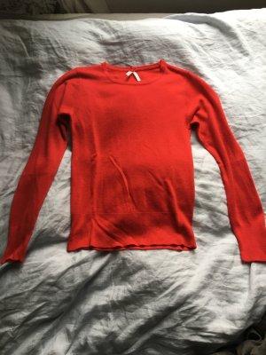 Rot orange Pullover wolle langarm eng Pulli Shirt rot