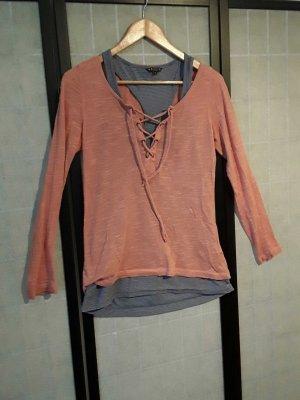 rot-oranges Langarm-Shirt mit blauem Top