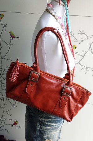 no name Carry Bag orange-red imitation leather