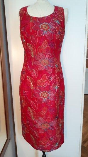 rot-rosanes St Emile Kleid mit bestickten Blüten