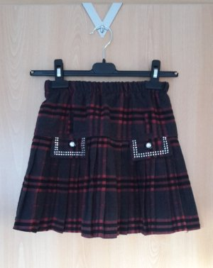 Plaid Skirt black-carmine