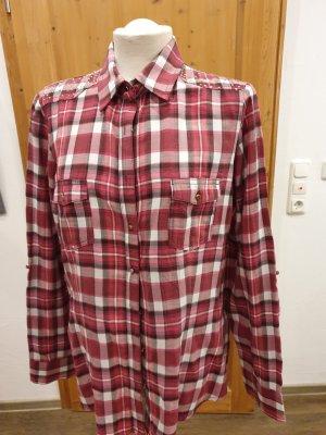 Rot/schwarz/weiß karierte Bluse