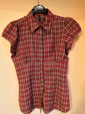 rot-schwarz-weiß-silber karierte Bluse, Größe M