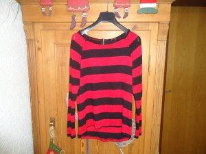 rot-schwarzer Strickpullover mit Rückenreißverschluss