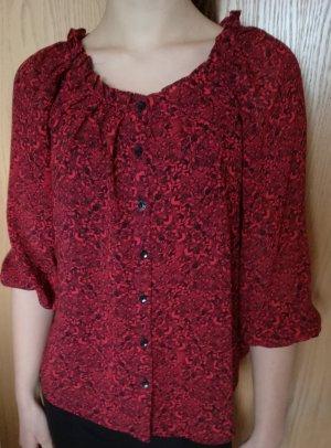 Rot-schwarzes H&M Bluse 3/4 Gr. 34