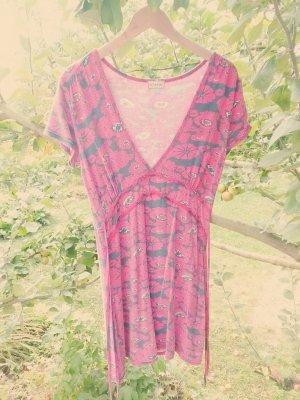 rot/schwarzes Kleid mit Blütenprint