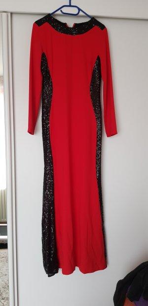 rot Schwarzes pailetten Kleid wie neu lang