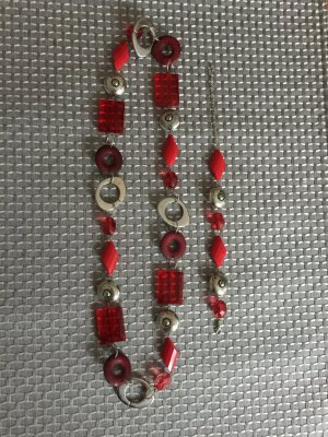 Rot/silber Armband und Kette SET