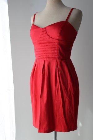 rot Sommerkleid 42% Baumwolle Satin Minikleid Wishes Gr. 36 S figurbetont Corsagestil