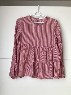 Rot/Weiß gestreifte Bluse von Zara Gr. M