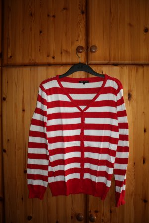 Rot-weiß gestreifter Cardigan