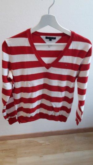 rot-weiß gestreifter Pullover von Tommy Hilfiger in Größe M