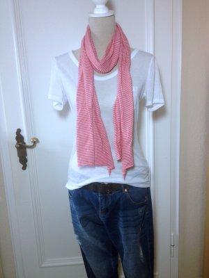 rot - weiß gestreifter Schal