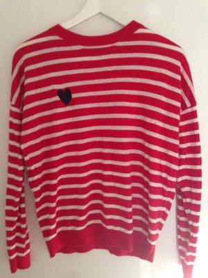 Asos Pull tricoté rouge-blanc