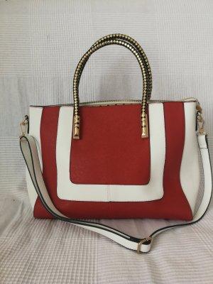 Rot, Weiße Handtasche (mit Schulterriemen)