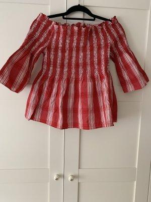 H&M Carmen Shirt white-red