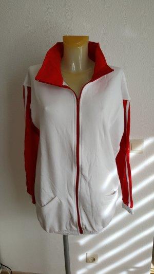 Rot-weisse Sweatshirt Jacke in XL