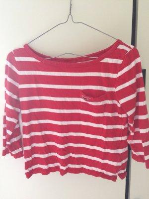 Rot-weißes, langarmiges T-Shirt von Hollister, Größe XS, 32