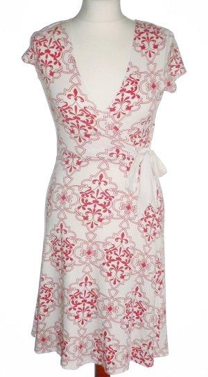 Rot-weißes Sommerkleid in Wickeloptik mit Ornamentmuster, etwa knielang, Gr. 36