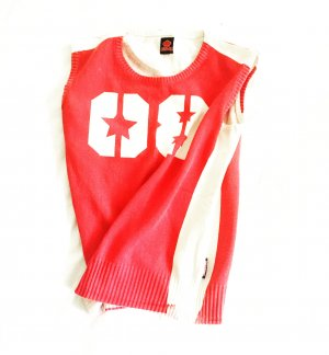 rot / weisses top von killah im used look / vintage / tank top / shirt / number shirt