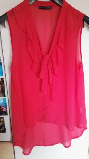 rote ärmellose Bluse Größe 38