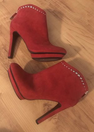 Zara Trafaluc Platform Booties red