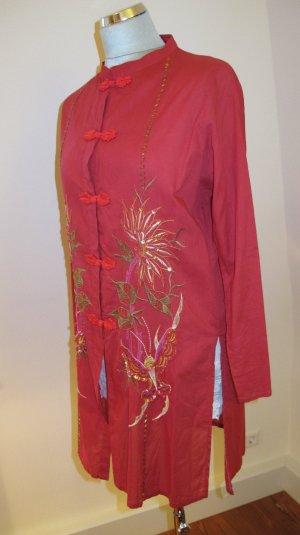 Rote Asia-Bluse mit Pailetten-Appklikationen