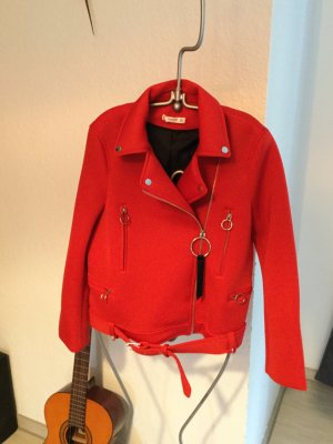 Mango Biker Jacket brick red polyester
