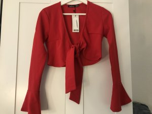 Boohoo Wraparound Blouse brick red-red