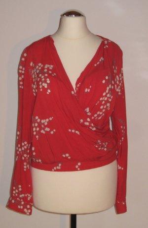 rote Bluse in Wickeloptik von Jackpot, Gr. 34