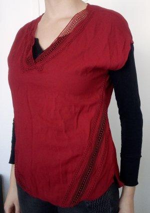 Rote Bluse mit Lochstickerei Orsay