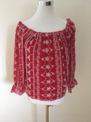 Miss Selfridge Carmen blouse baksteenrood-wolwit Polyester
