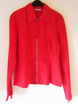 Rote Bluse mit Zipper-Details