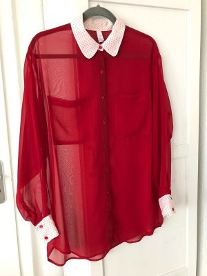 American Apparel Blouse oversized rouge-blanc