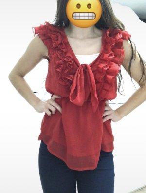H&M Blusa in merletto rosso-carminio