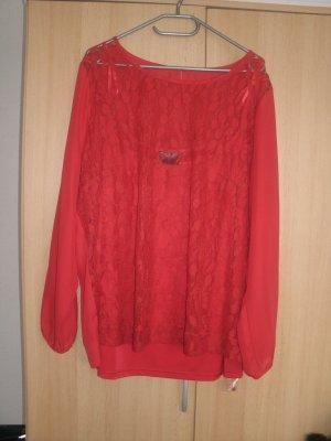 Rote Bluse vorne mit Spitzeneinsatz 48