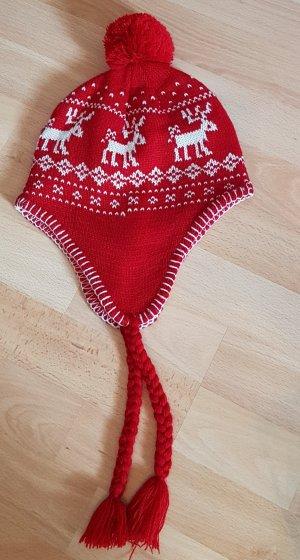 Bonnet cache-oreilles blanc-rouge brique