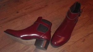Rote Chelsea Stiefeletten aus Leder