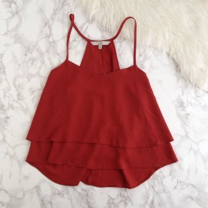 Rote Chiffon Cropped Bluse Top Rot Schulterfrei Oversized Volant 34 XS Rostbraun