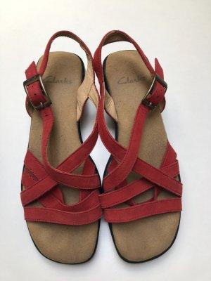 Rote Clarks Sandalen Echtleder
