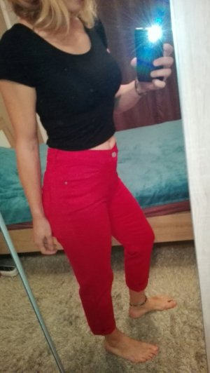 Rote cropped leg Hose